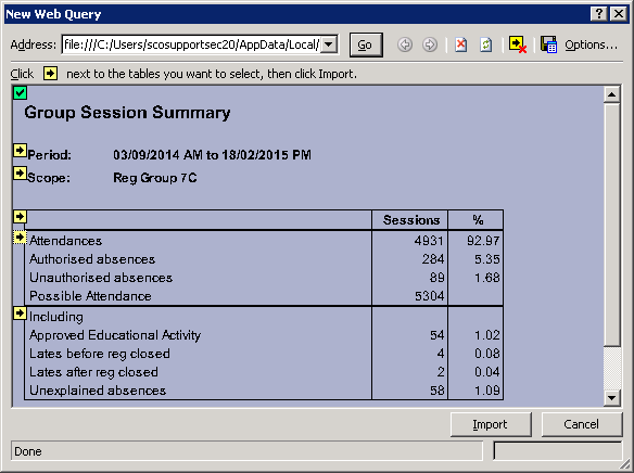 Exporting Attendance or Lesson Monitor reports to Excel - Frequently