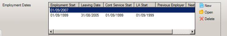 employment dates