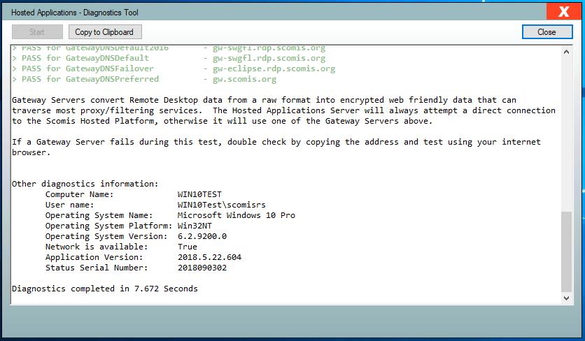 Hosted Applications v6.16 - Diagnostics Tool