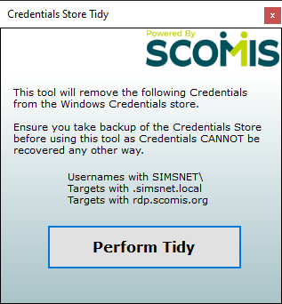 What the Credentials Store Tidy tool looks like. A single focused button, ready to be clicked.