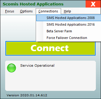 Hosted Applications - Connections Menu