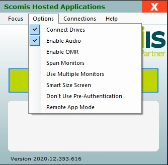 Hosted Applications - Options Menu